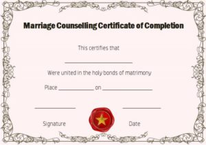 Free Marriage Counseling Certificate of Completion Template