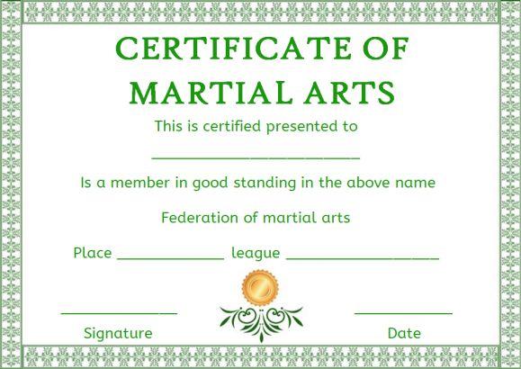 Free Membership Certificate Martial Arts Template