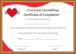 Free Premarital Counseling Certificate of Completion Template