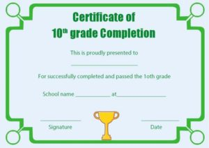 Grade 10 Certificate of Completion Template