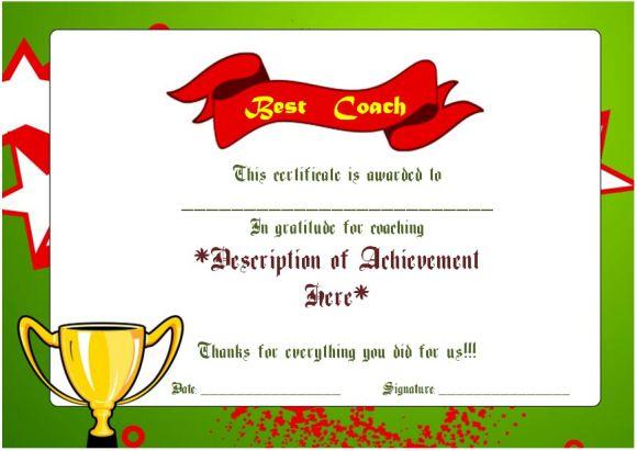 Netball Best Coach Award Certificate