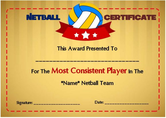 Netball Most Consistant Player Award Certificate