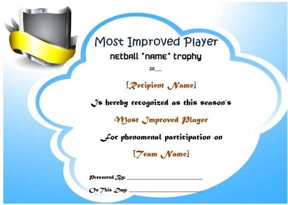 Netball Most Improved Player Award Certificate