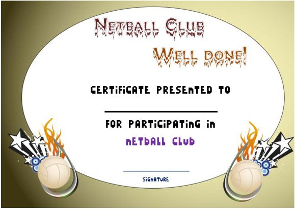Netball Participation Certificate