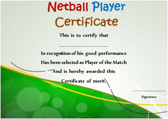 Netball Player Certificate