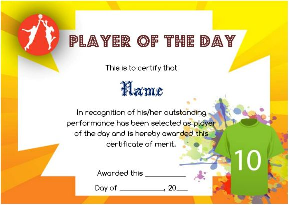 Netball Player of The Day Certificate Template