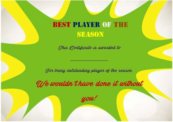 Netball Player of The Season Certificate