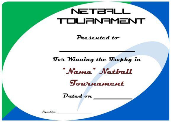 Netball Tournament Certificate