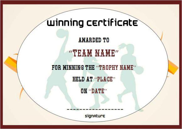 Netball Winner Team Certificate