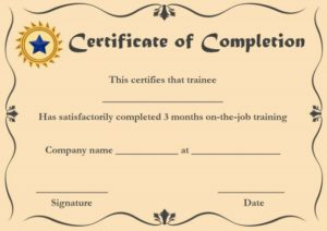 ojt Certificate of Completion Sample Format