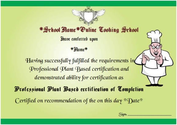 Online Cooking Course Certificate