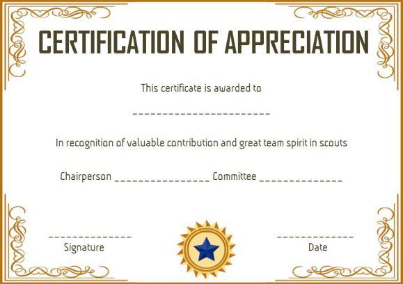 Scout Certificate Of Appreciation
