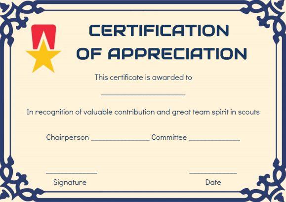 Scout Certificate Of Appreciation Template