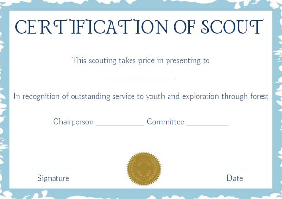Scout Certificates Template