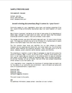 Bag It Press Release Template