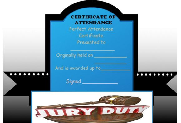 Certificate of Attendance for Jury Duty
