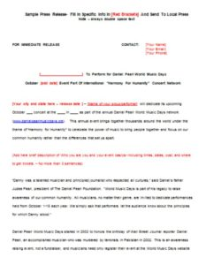 DPWMD Sample Press Release Template