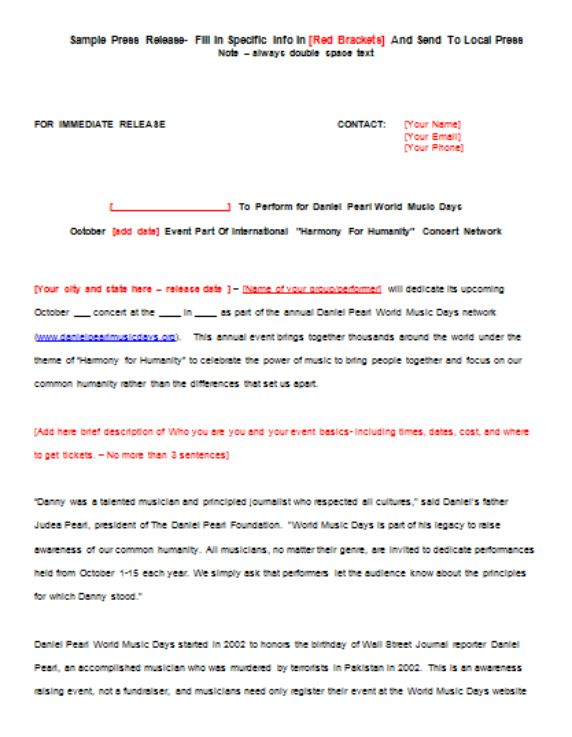 Outstanding concert press release template frieze for Concert press release template