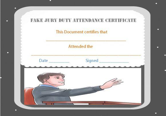 Fake Jury Duty Attendance Certificate
