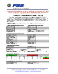 Fumigation Management Plan Template