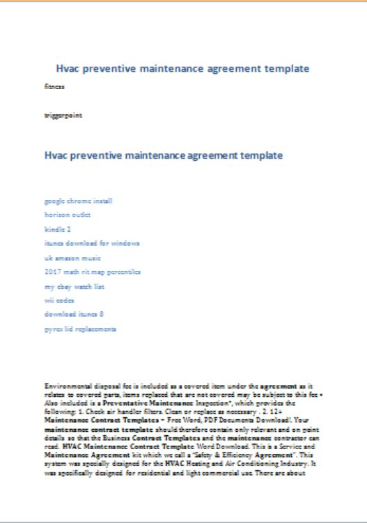 HVAC Preventive Maintenance Agreement Template