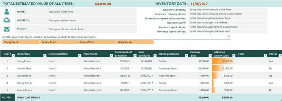 Home Inventory Spreadsheet Template For Excel