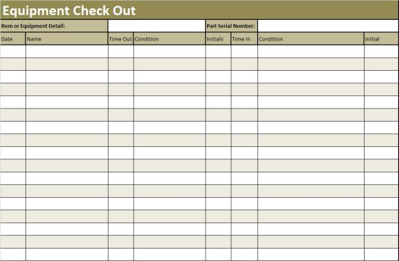 Inventory Check Out Sheet Template