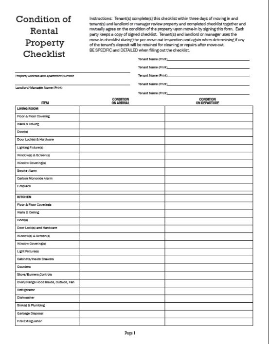 Inventory Checklist Template Rental
