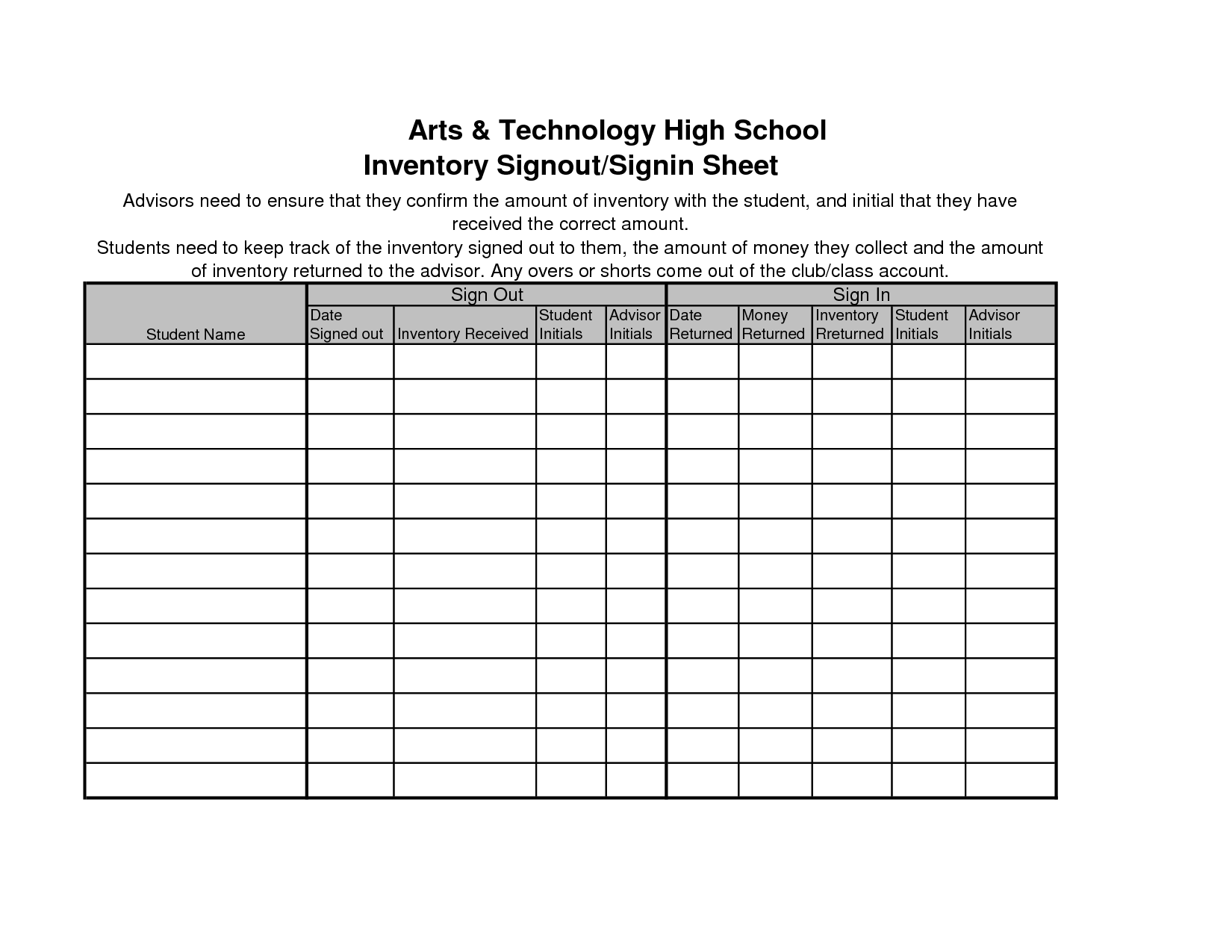 Inventory sheet template 40 ready to use excel sheets for Sign in and out log template