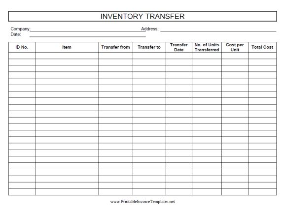 Inventory Transfer Sheet Template