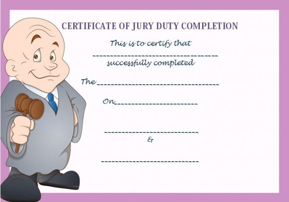 Jury Duty Certificate of Completion