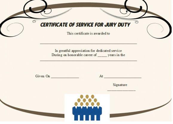 Jury Duty Certificate of Service