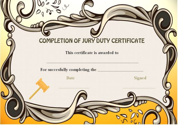 Jury Duty Completion Certificate