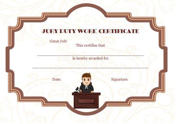 Jury Duty Work Certificate