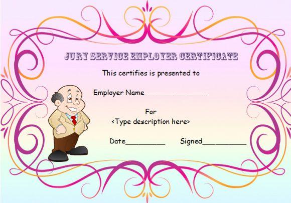 Jury Service Employer Certificate