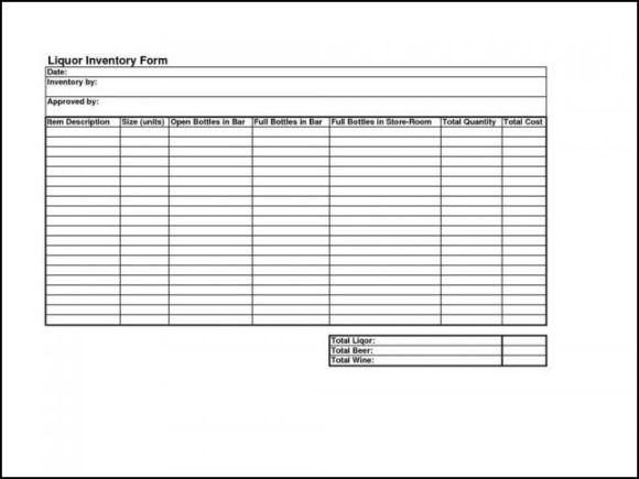 Liquor Inventory Control Sheet Template