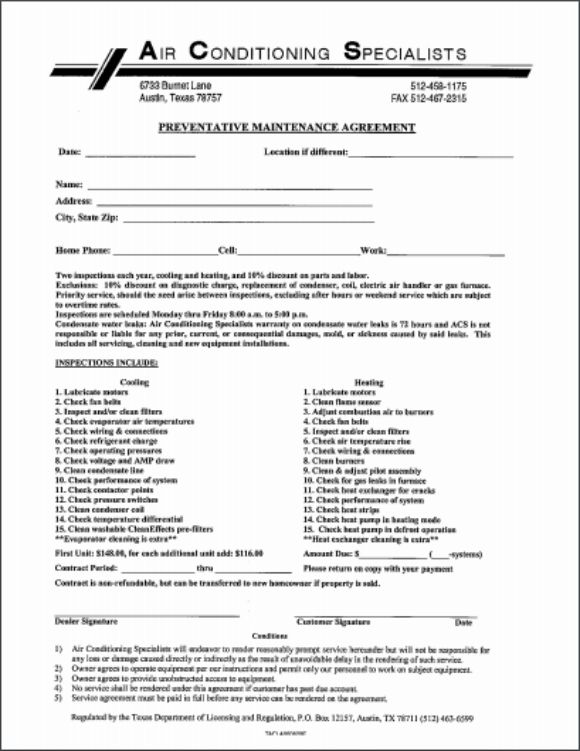 Maintenance Agreement Airconditioning