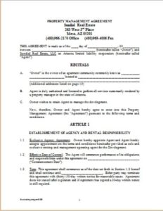 Management Agreement Real Estate