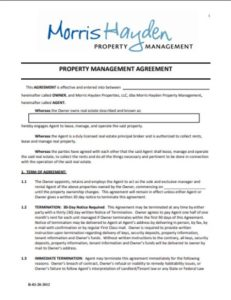 Master Property Mgmt Agreement