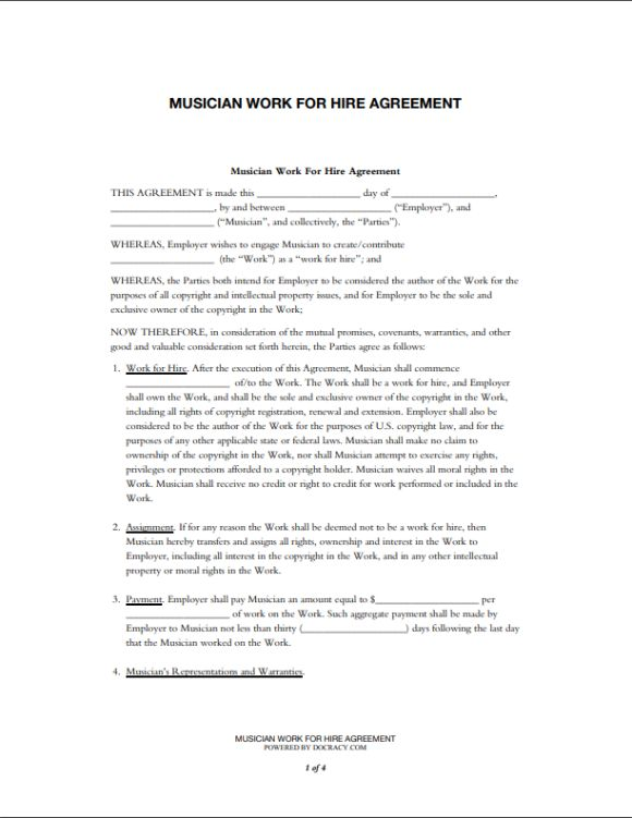 Music Work for Hire Agreement Template