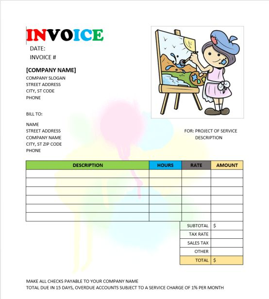 Painter Invoice Template Free Invoice Templates In Word Demplates - Invoice for painting services