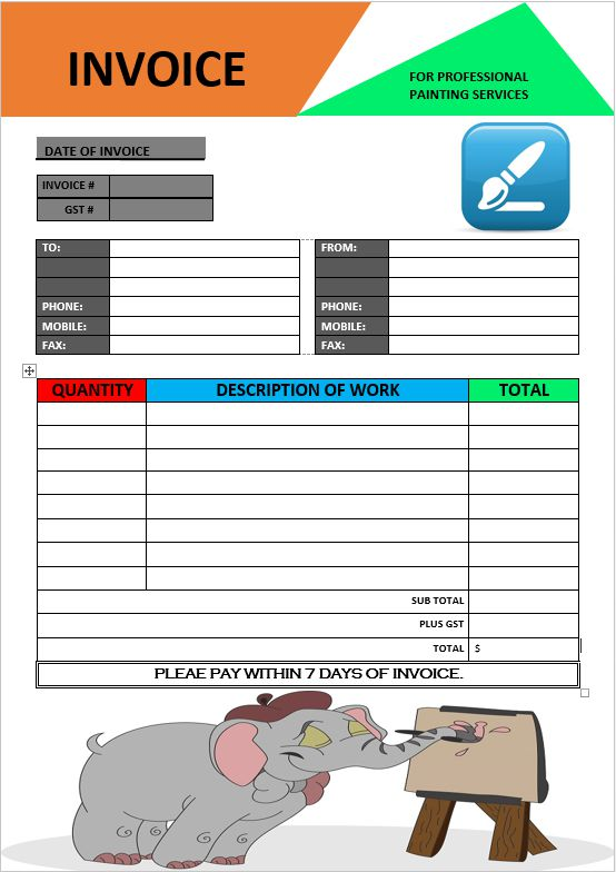 Paintings Invoice Template