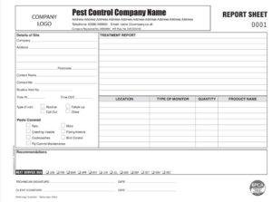 Pest Control Report Sheet