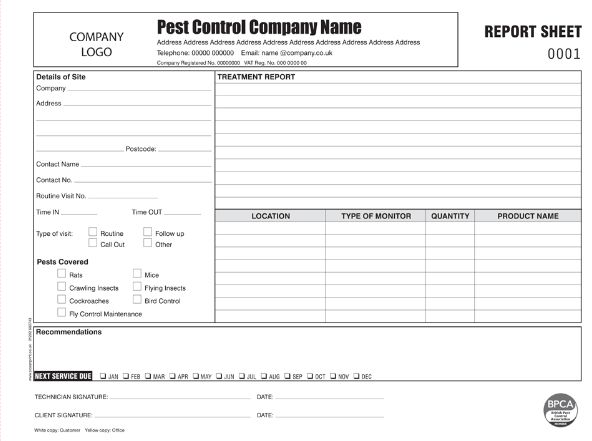 layout of a pest control report template