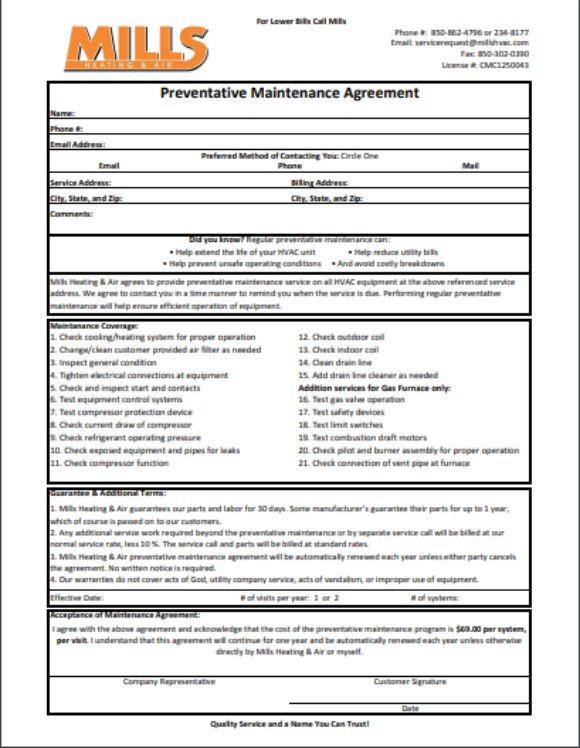 Preventative Maintanance Agreement