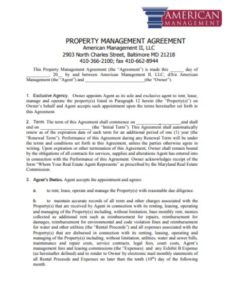 Property Management Agreement American
