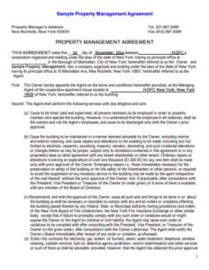 Property Management Agreement Samples