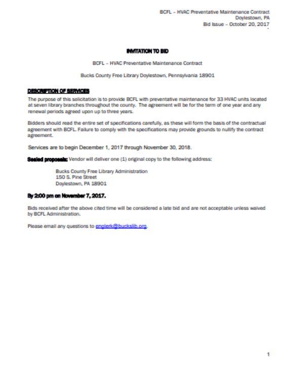 RFP HVAC Preventative Maintenance Invitation