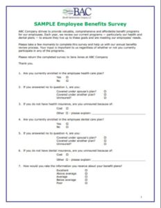 Sample Employee Benefits Survey