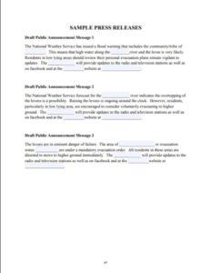 Sample Press Releases